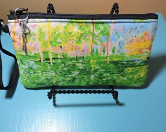 MONET painting, PINK Forest, WRISTLET for iPhone, camera, eyeglasses, zipper closure, 4X7
