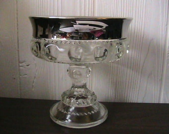Kings Crown Compote Silver Rim Thumbprint Glass Vintage Dish
