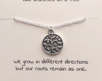 Tree of life necklace, silver tree necklace, family tree, family jewelry, tree of life pendant, tree pendant, gift for mum, gift for sister