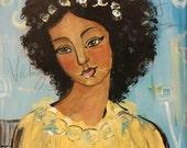 Original 8x10 Modern African American portrait painting Canvas ArT