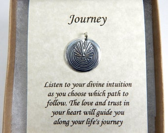 Man in the Maze Pendant, Inspirational Jewelry, Journey Necklace, Native American Jewelry, Labyrinth Pendant, Large Fine Silver Pendant