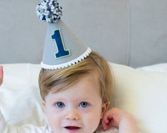 Boys 1st Birthday Small Felt Party Hat - Boys First Birthday Hat Grey and Blue