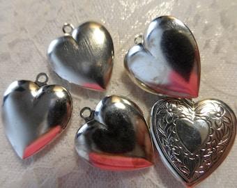 "Vintage gold(Bright silver shown)plate brass heart lockets,1"",5pcs-KC445"