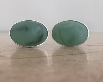 Green Swirl Silver Oval Cufflinks