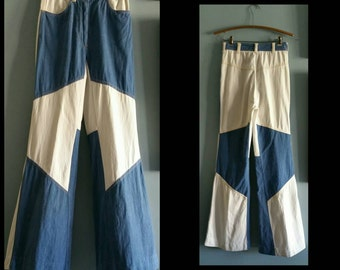 1970s blue and white denim big bell bottoms.