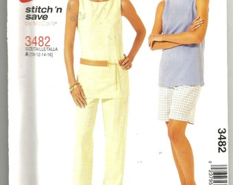 UNCUT 3482 McCalls Sewing Pattern Top Pull On Pants Shorts Size 10 12 14 16
