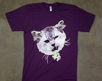 Unique Crazy Cat Lady T-shirt Screen Printed with Discharge Inks on PURPLE American Apparel by Strange Planet Printing