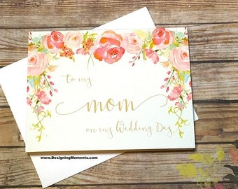 To my Mom on my Wedding Day Card - Bridal Party Card - Vintage Floral Thank You Mom - Mother - Wedding Day Card for Mom Mother - HEIRLOOM