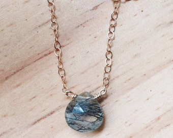 Collar goldfill con cuarzo rutilado