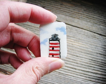Tiny Red Lighthouse Magnet, Minimalist Art, Magnet, Hand Painted Magnet, Fridge Art, Refrigerator Magnet