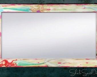 "Beautiful Big Painted Mermaid Mirror, Beach Mirror, Beach Decor, Beach House Art 22x28"",  and 30x36"" available"