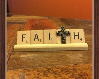FAITH, inspirational decor, with cross charm, Breast Cancer Gifts, Encouragement card, Believe, Pastor gift, faith hope love, Baptism