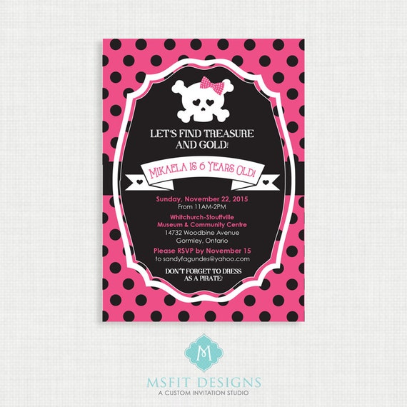 Girl's Pirate Invitation - Printable DIY Pink Pirate Invitation - Girls Pirate Birthday Invite - Girls Pirate Party Invite