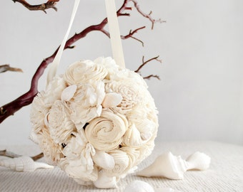 Seashell + Sola Flower Bouquet in Cream - Option to Lease