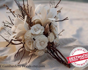 Bridal Bouquet Sola Flower Lily, Sea Fan, Shell Bridal Bouquet with Photo Charm - Option to Lease