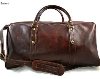 Leather travel bag duffle bag weekender overnight carryon hand luggage genuine leather dufflebag gym bag mens ladies carry on brown