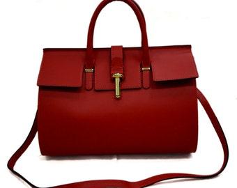 Ladies bucket bag handbag leather bag red clutch hobo bag shoulder bag crossbody bag made in Italy genuine leather crossbody leather bag