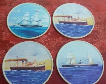 Vintage set of 4 coasters, souvenir of Greece, boat coasters, Greek souvenir, Greek boats, Greek flag (Varv/syr3)