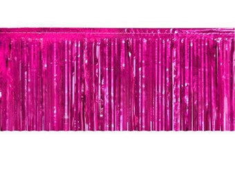 """Metallic hot pink Fringed table skirt Party decor 29"""" x 14 ft"""