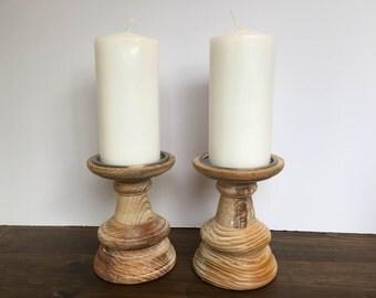 wooden candlestick pair