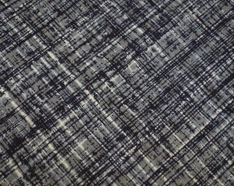 Indigo Grey Abstract Vintage Japanese cotton kimono fabric