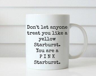 pink starburst funny coffee mug coffee mug mug coffee cup yellow starburst gift idea white elephant gift