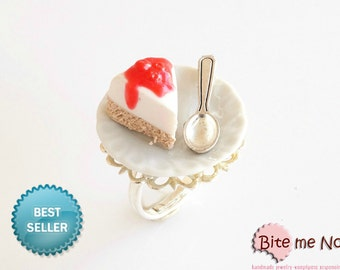Food Jewelry Cheesecake Ring, Cake ring, Cheesecake Jewelry, Polymer Clay Food