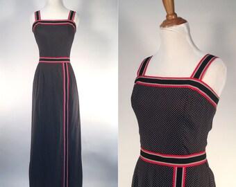 ON SALE Vintage 1970s Dress - 70s Black Red and White Cotton Polka Dot Print Maxi Dress - Picnic Perfect - medium M
