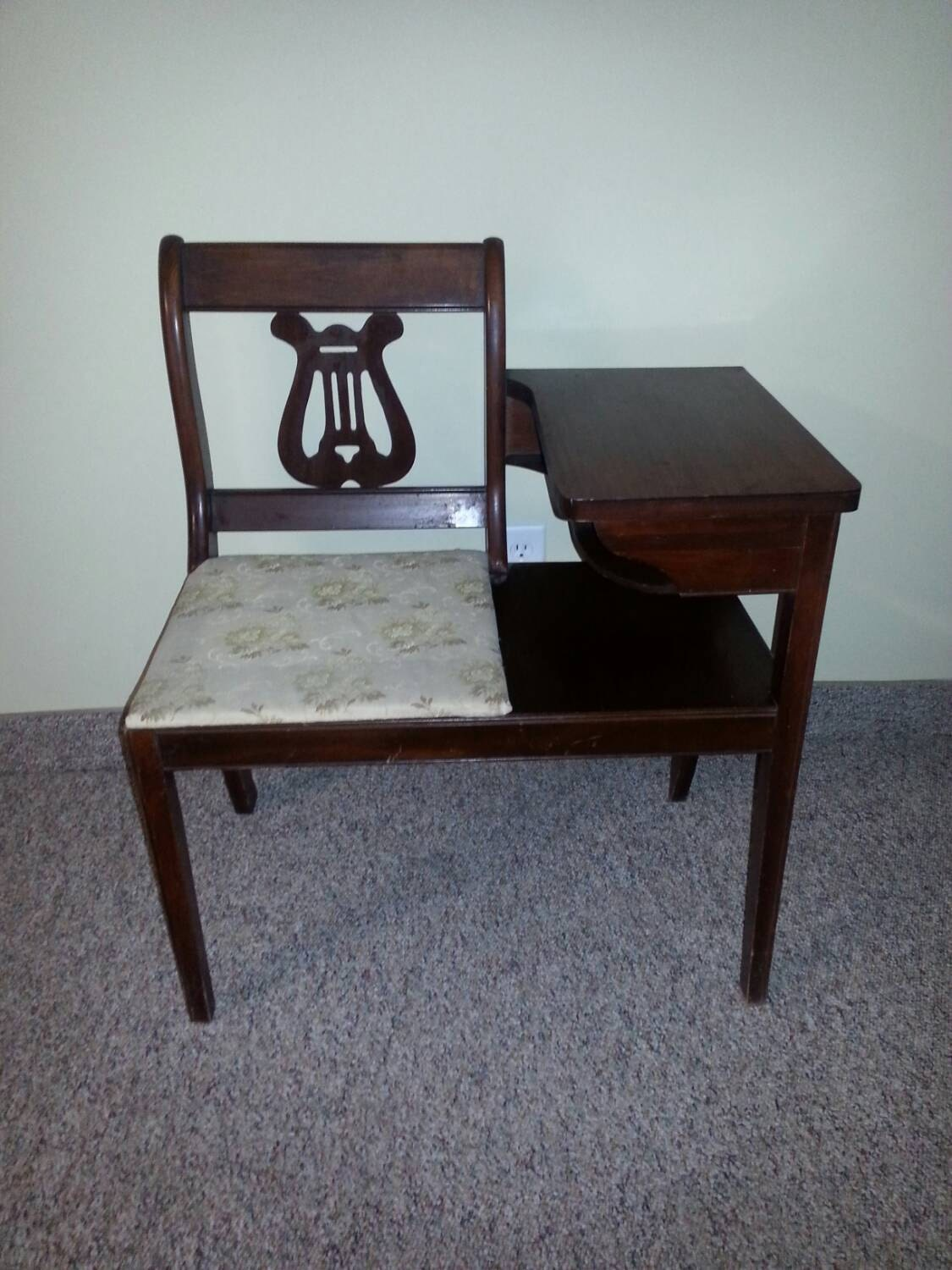 Vintage Telephone Chair And Table