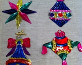 4 Mexican Tin Christmas Decorations - ref 2