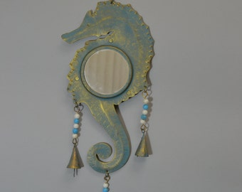 SEAHORSE rusty IRON metal mirror wall hanger beach handcrafted #f-916