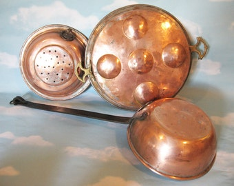 Vintage Copper Egg Poacher Pan, cast iron riveted handle, long handled  cookware, 3 pieces