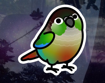 """Chubby Green Cheek Conure 3.5"""" Sticker [Outdoor Quality] 1-3pc Package Options"""