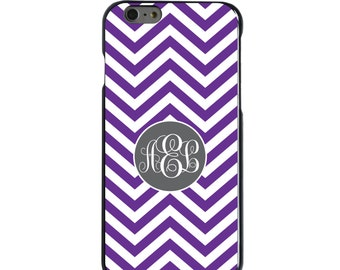 Hard Snap-On Case for Apple 5 5S SE 6 6S 7 Plus - CUSTOM Monogram - Any Colors - Purple White Grey Chevron Circle