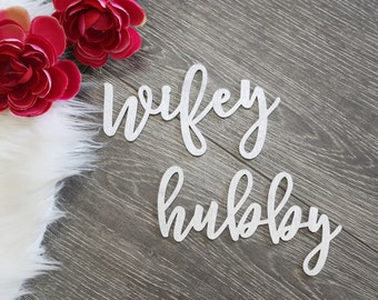"Wifey and Hubby Laser Cut Wood Name Sign - (Set of TWO) 6"" x 2"" Bride and Groom Wedding Place Card Table Setting Seat Sign Sweetheart table"