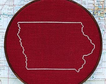 State of Iowa map, CROSS STITCH PATTERN