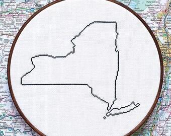 State of New York map, CROSS STITCH PATTERN