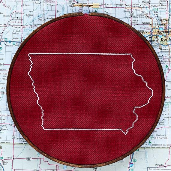 State of iowa map cross stitch pattern