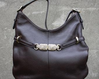 Vintage TALBOTS Genuine Leather Brown Large Shoulder Bag