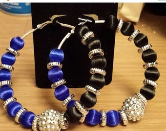 Love and Hip Hop Basketball wives inspired hoop with black and blue beads.