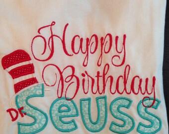 Embroidered Happy Birthday, Romper, Dress or Onesie