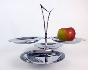 Kromex Polished Stainless Steel 4 Plate & 2 Tier Tidbit or Hors d'Oeuvres Tray Pedestal Base - Vintage Retro Midcentury Modern Atomic Handle
