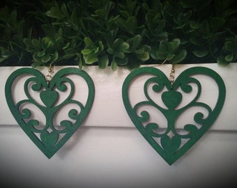 Green Goddess- Handmade Wooden Earrings