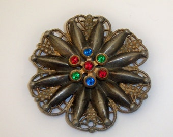 Antique Flower Brooch. Victorian Abstract Floral Brooch.
