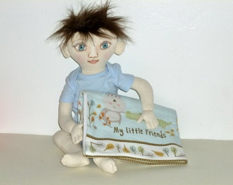 Soft Cloth Baby, Fabric doll, OOAK doll, Sheila Kay doll, toy rag doll, One of a kind doll, baby boy, brown hair, soft sculpted boy doll