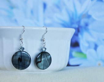 River Shell Blue earrings, Blue and black earrings, striped earrings, dangle earrings, crystal earrings, gifts for her earrings,