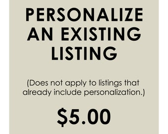 Personalize An Existing Listing