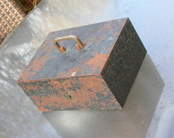 French antique Industrial heavy Metal Bank Box art deco handle jewelry box security box store case