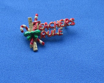Retro Teachers Rule Christmas Red Green Enameled Brooch