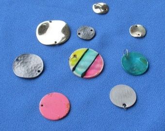 Lot Of Retro Salvaged Round Metal Mother Of Pearl Dangles